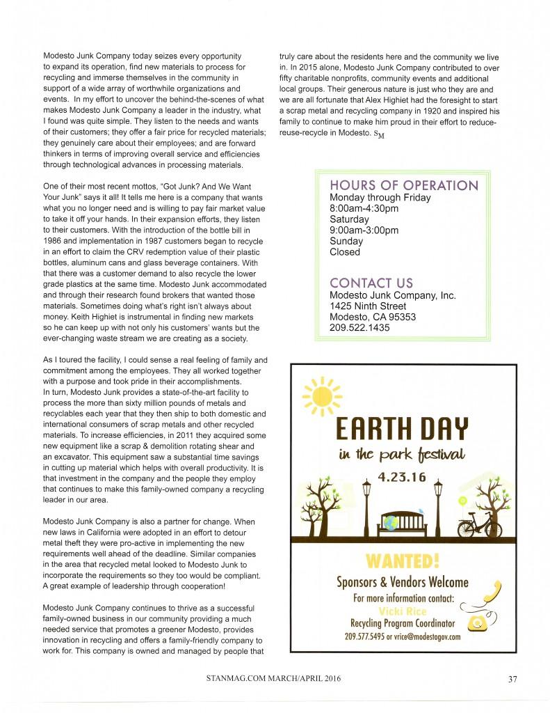 Modesto Junk in Stanislaus Magazine p 37