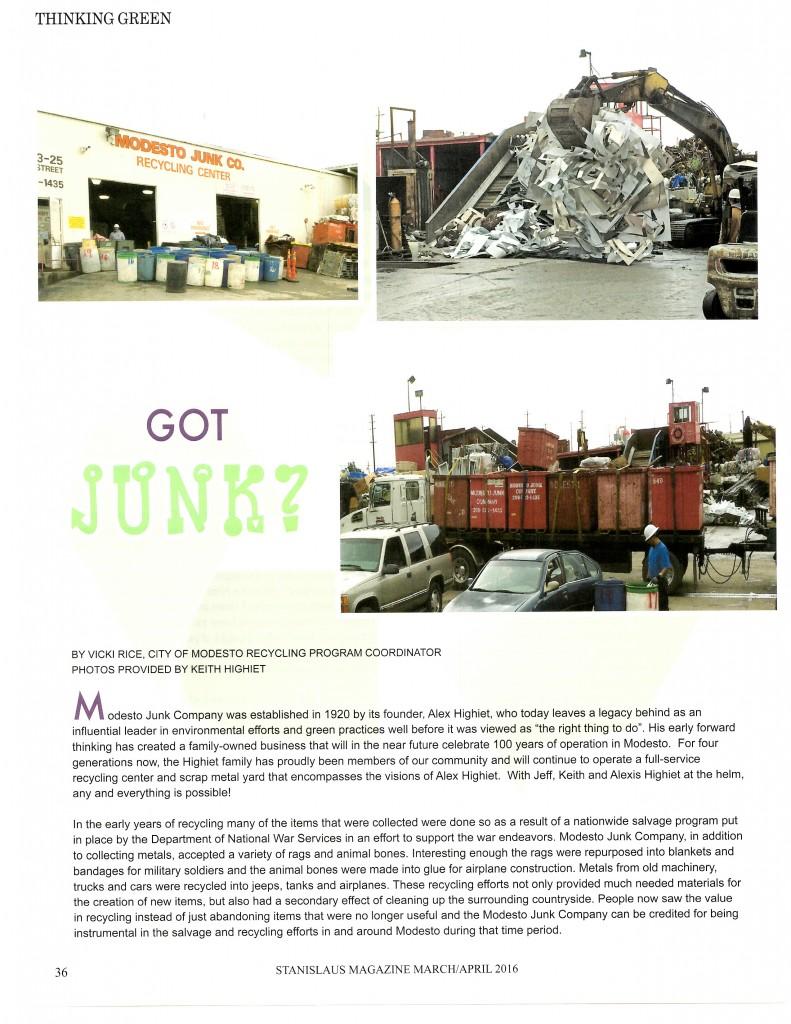 Modesto Junk in Stanislaus Magazine p 36